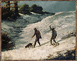 Les Braconniers - Poachers in the snow. Canvas,65 x 81 cm